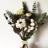 仿真花人造花 干花松果 棉花尤加利葉干花北歐風小清新家居裝飾擺件壁掛花束 【八折搶購】