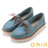 ORIN 休閒時尚潮流 質感荔枝紋綁帶牛皮厚底鞋-藍色