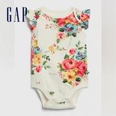 Gap女嬰童趣印花信封領連體衣580511-新純白花朵圖案