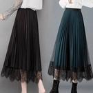 網紗裙 黑色百褶裙女秋冬半身裙中長款高腰兩面穿網紗裙雙面a字蕾絲裙子 夢藝