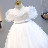女童白色連身裙2019夏季新款小女孩洋氣蓬蓬紗公主裙兒童禮服裙子