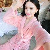 秋冬季珊瑚絨大碼法蘭絨睡袍女士情侶加厚中長純色浴袍睡衣家居服