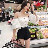韓範單排扣泡泡袖抹胸襯衣小心機性感短款百搭氣質短袖修身上衣女