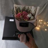 香皂花干花花束禮盒送女友生日畢業禮物許愿燈發光小清新文藝中山