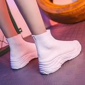 襪靴 夏季透氣超火襪子鞋女厚底增高百搭小白鞋韓版高筒飛織運動鞋休閒 快速出貨