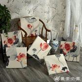 中式紅木沙發坐墊棉麻田園風實木椅子可拆洗茶樓椅子坐墊50X50CM 優家小鋪
