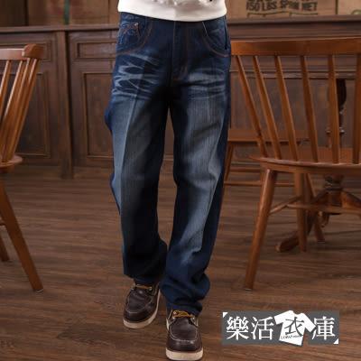 【7281】對稱皮標刷色伸縮中直筒牛仔褲● 樂活衣庫