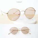 墨鏡 細圓金屬框淺色太陽眼鏡 明星款素面鏡框 抗UV400 柒彩年代【NY388】