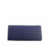【BOTTEGA VENETA】牛皮編織經典款對開長夾(寶藍) 120697 V4651 4156