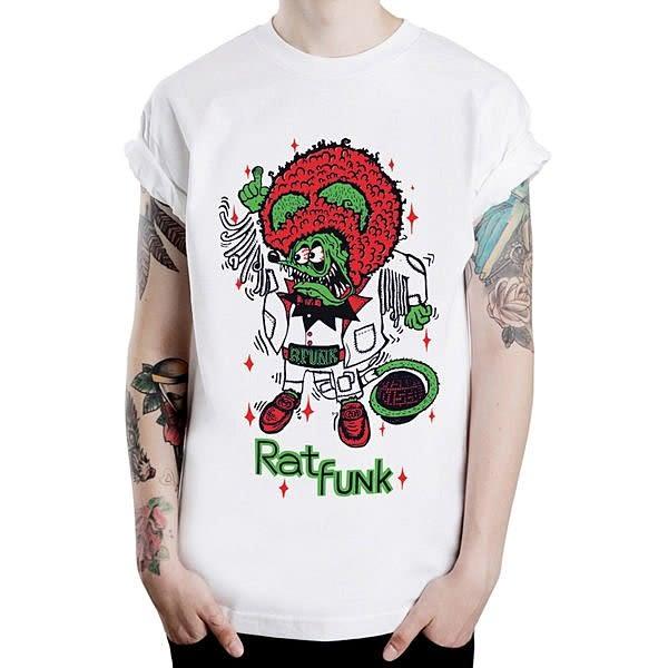 Rat Funk短袖T恤-白色 趣味幽默街頭潮流西海岸hot rod west coast gildan 390