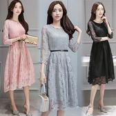 【韓國KW】(預購) M~3XL法式浪漫蕾絲設計洋裝