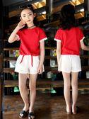 童裝女童夏裝套裝新款夏季短袖中大童洋氣時尚兒童運動兩件套  薔薇時尚