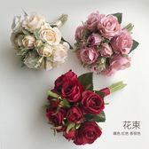 新年鉅惠 仿真花束婚禮新娘伴娘小天使花童手捧花制作花材裝飾擺設紅色玫瑰