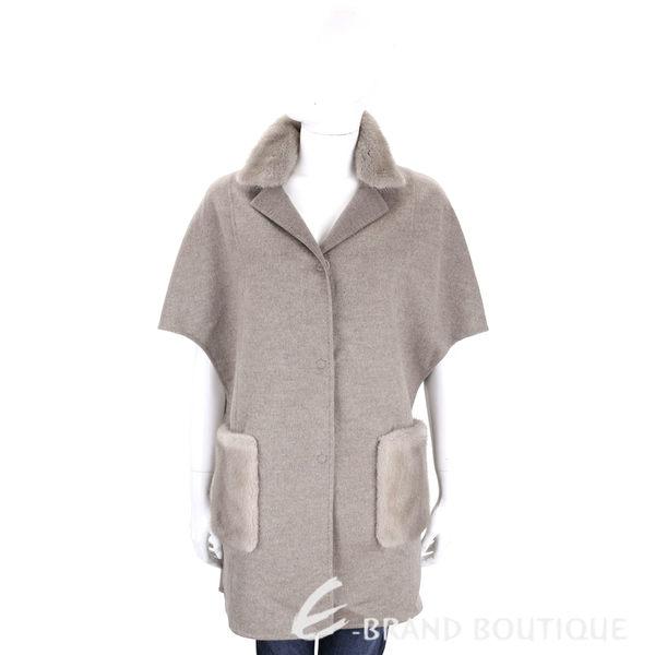 Manzoni 24 灰色皮草拼接大寬袖羊毛大衣(70%WOOL) 1710029-06