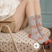3雙裝 中筒襪復古花紋純棉小腿襪花朵堆堆襪lolita襪子女【君來佳選】