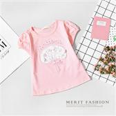 甜美立體花朵花束粉色短袖上衣 棉質 舒適 棉T 短袖 上衣 女童 彈性 花朵 夏天 哎北比童裝