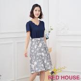【RED HOUSE 蕾赫斯】花辦V領條紋洋裝