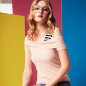 【SHOWCASE】條紋單肩斜翻領素色百搭合身短袖T恤(粉色)