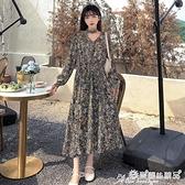 碎花裙 秋裝法式長袖連身裙女秋冬裙子秋季氣質顯瘦顯高碎花長裙 愛麗絲
