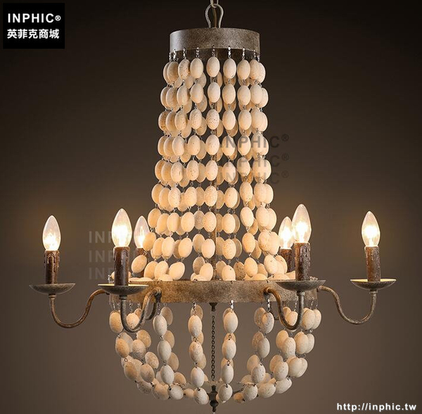 INPHIC- 美式鄉村客廳餐廳咖啡廳服裝店復古創意木頭鐵藝蠟燭吊燈_S197C