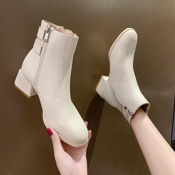 馬丁靴女春秋單靴2021新款ins網紅瘦瘦鞋粗跟中跟側拉鏈時尚短靴 3C數位百貨
