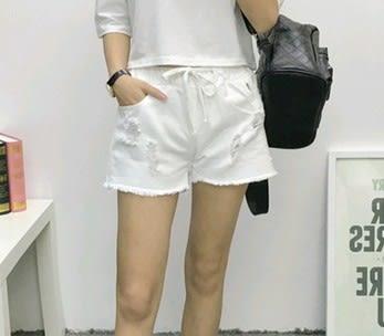 EASON SHOP(GU0102)韓版毛邊抽鬚刷破割破洞寬鬆牛仔短褲女抽繩鬆緊腰黑色白色純色2色入