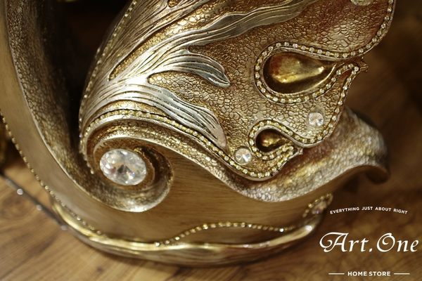 ART ONE 居家設計館 AW117018 古銅色天鵝造型羅馬柱茶几