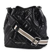 美國正品  MICHAEL KORS 黑字衍縫格紋小羊皮寬背帶水桶包-黑色/小【現貨】