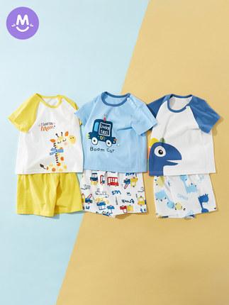男童短袖套裝純棉薄款夏季洋氣寶寶衣服嬰兒夏裝兒童夏天小童男孩兩件套柔軟舒適透氣