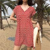 短袖洋裝 印花 花邊 V領 短裙 雪紡 短袖 洋裝 連身裙【MYM753】 ENTER  06/21