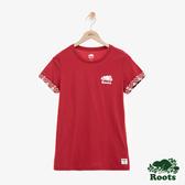 女裝ROOTS - 費爾島反摺短袖T恤-紅色