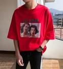 找到自己品牌 時尚潮流 男 寬鬆 歐美人物情侶印花 短袖T恤 圓領T恤 圖案T
