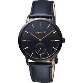 agnes b. 法國時尚小秒針手錶-黑/38mm VD78-KLB0G(BN4004X1)