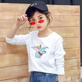中大童長袖 童裝女童上衣2021新款秋裝中大童純棉薄款打底衫兒童洋氣長袖t恤 薇薇