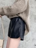 皮短褲女2019新款秋冬季外穿時尚闊腿寬松pu皮褲百搭高腰大碼顯瘦 歐亞時尚