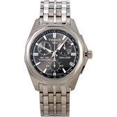 TISSOT 天梭 PRC100 極速三眼鈦金手錶-銀黑 T0084174406100
