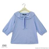 【INI】注目細緻、綁結細節迷人上衣.藍色