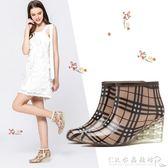 夏時尚女士短筒雨靴高跟舒適水鞋防滑坡跟膠鞋雨鞋『CR水晶鞋坊』