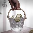 愛洛琳 創意手提式玻璃小冰桶酒吧冰塊桶置物籃容器 家用水果收納 夢幻小鎮「快速出貨」