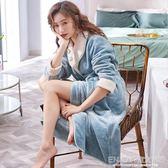 晨袍洋裝 睡衣女秋冬季加厚加絨保暖長款睡袍浴袍日式浴衣晨袍 宜室家居