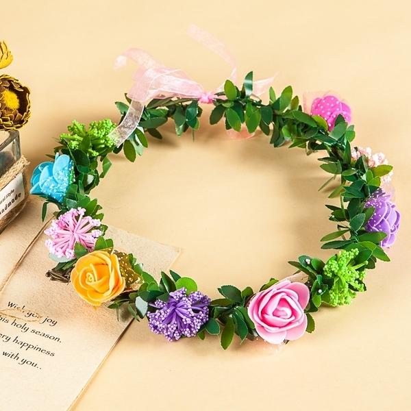 [彩色+彩碎花 人造花髮帶 仿真花花圈 花冠假花環] 婚禮小物 生日禮物 求婚&畢業表演花禮