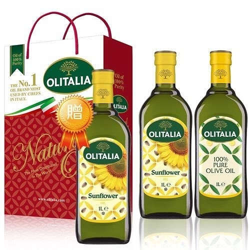 【南紡購物中心】奧利塔綜合禮盒組 (純橄+葵花共2罐/組) 1組贈1瓶葵花油