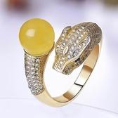 戒指 925純銀 琥珀-奢華細緻生日情人節禮物女開口戒73ga7【時尚巴黎】
