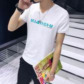 短袖T恤 夏季薄款V領印花潮流男修身百搭打底衫《印象精品》t75