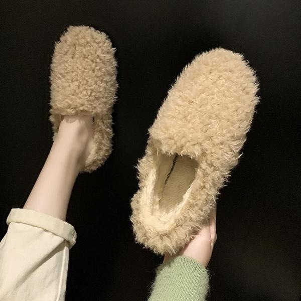 毛毛鞋 冬天豆豆鞋女正韓加絨棉鞋女鞋秋冬季外穿潮鞋秋鞋毛毛鞋-Ballet朵朵