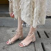 交叉綁帶羅馬涼鞋粗跟中跟一字扣方頭露趾方跟女鞋『伊莎公主』