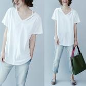 民族風夏裝新款大碼女裝V領純色短袖胖mm簡約寬鬆韓版打底衫上衣T恤