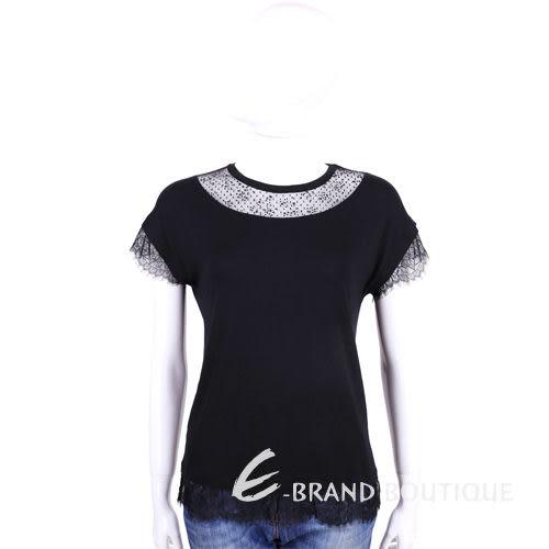 BLUGIRL 黑色蕾絲拼接短袖上衣 1510878-01