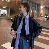 皮衣外套 秋裝韓版2020新款時尚寬鬆中長款BF風氣質PU長袖皮衣外套女ins潮 新年慶
