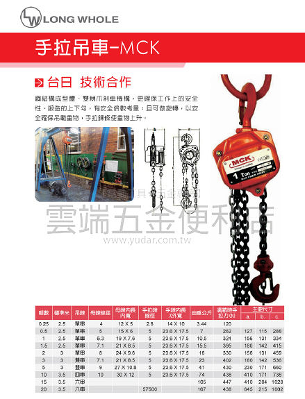 0.5T*7M 手拉吊車 台灣製造 正港MIT MCK 起重機